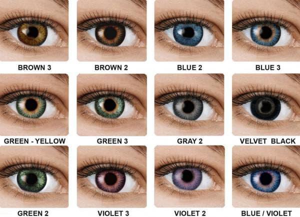 Выбор цветных контактных линз с диоптриями