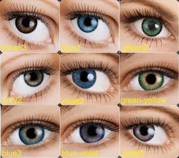 Разнообразие оттенков и цветов контактных линз