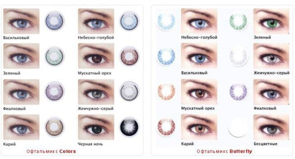 Цветные линзы для голубых глаз