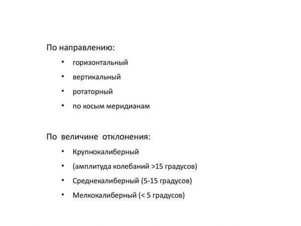 Классификации нистагма